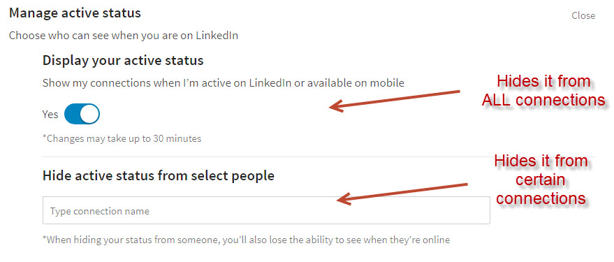 Active Status on LinkedIn - Settings