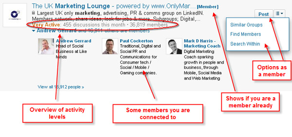 LinkedIn Groups search results