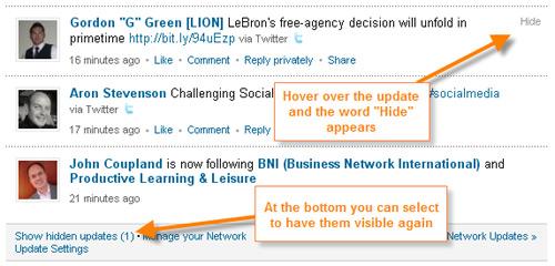 LinkedIn Tips Hiding Updates