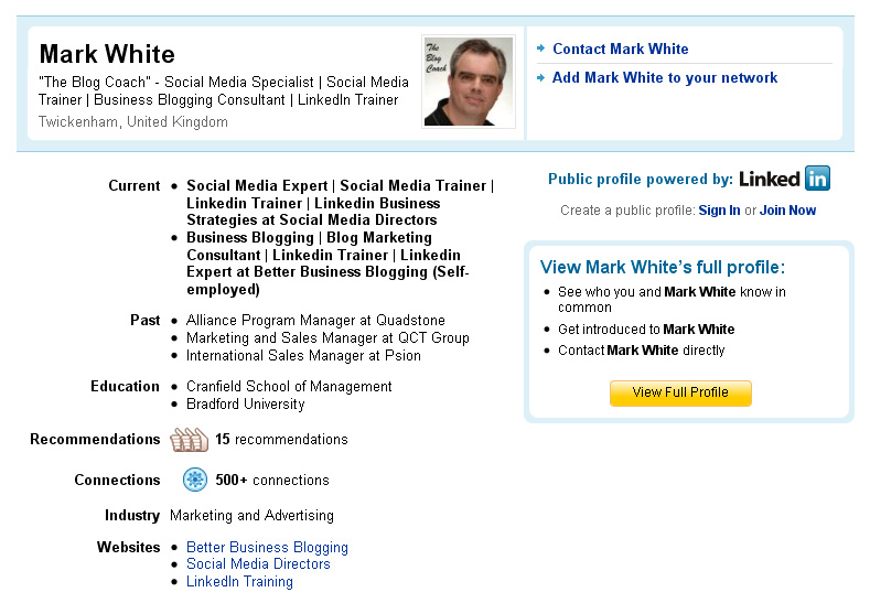 LinkedIn public profile example
