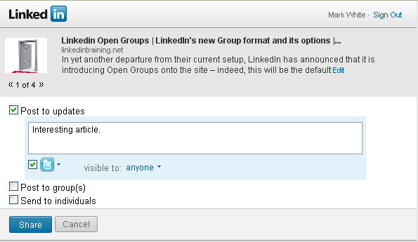Linkedin Share Button options