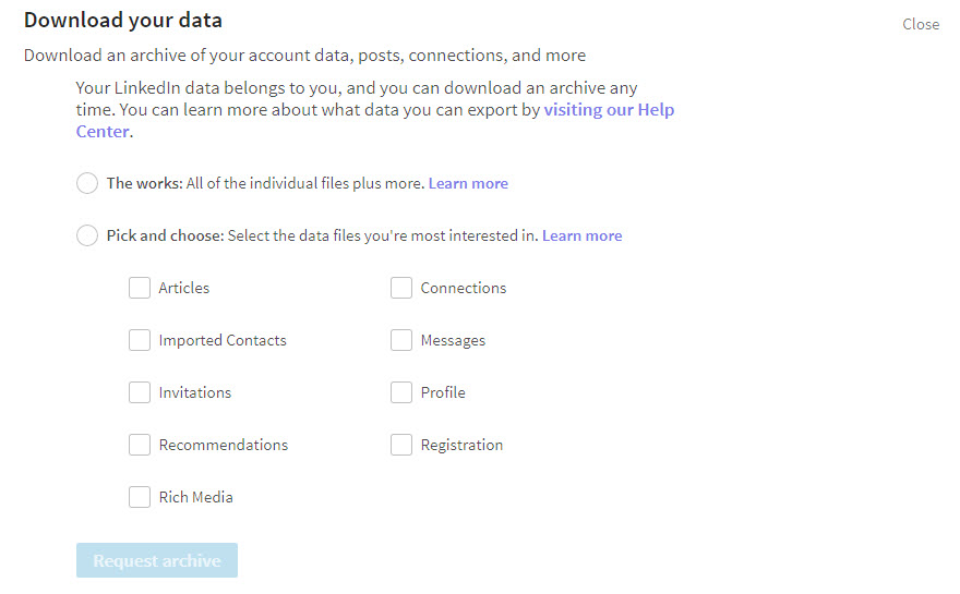 Security on LinkedIn - downloading data