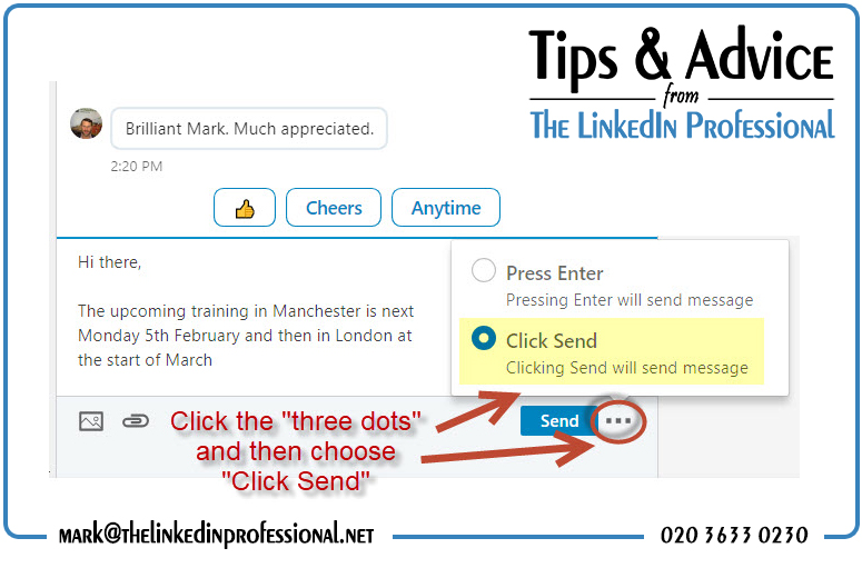Click to send on LinkedIn