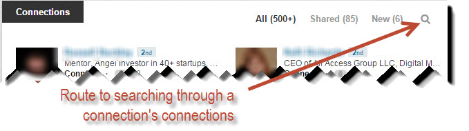 Magnifying glass to search connections on LinkedIn