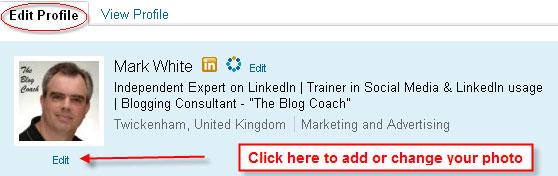 LinkedIn Profile - Add Photo or Change Photo