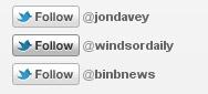 Twitter Follow button on LinkedIn
