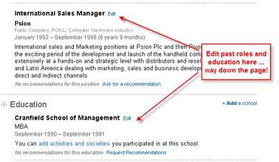 LinkedIn past roles & Education